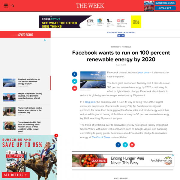 Facebook wants to run on 100 percent renewable energy by 2020