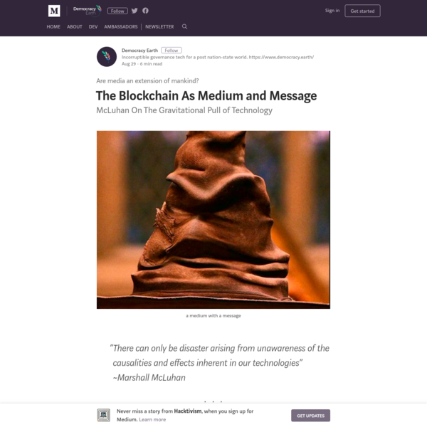 The Blockchain As Medium and Message - Hacktivism