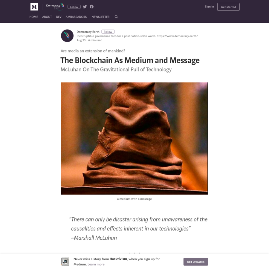 """Long before the Sorting Hat at Hogwarts told Harry Potter he was maybe a Gryffindor, maybe a Slitherin, Marshall McLuhan, the Canadian philosopher, intellectual, and media theorist famously predicted the Internet and its impact on the culture with this now famous statement, """"The medium is the message."""""""