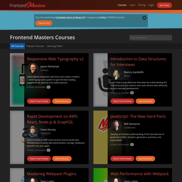 Learn JavaScript, Front-End Web Development and Node.js with Frontend Masters Courses