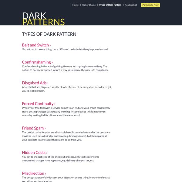 Types of Dark Patterns