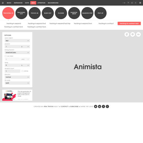 Animista is a place where you can play with a collection of ready to use CSS animations, tweak them and download only those you will actually use.