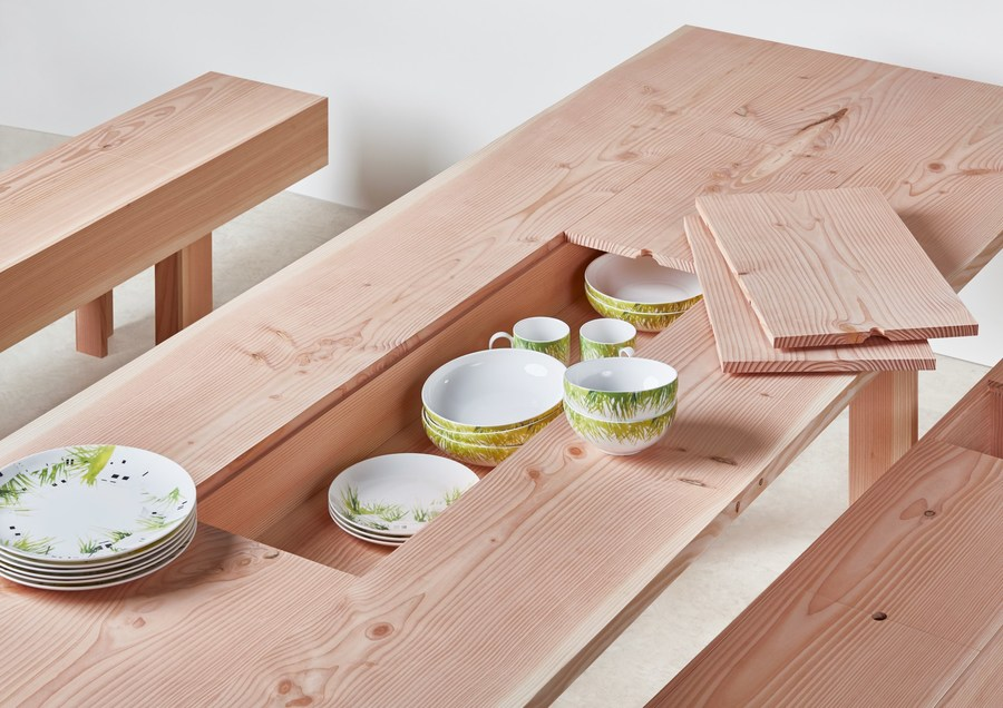 Planks dining table bench by Max Lamb with china by Lindsey Adelman