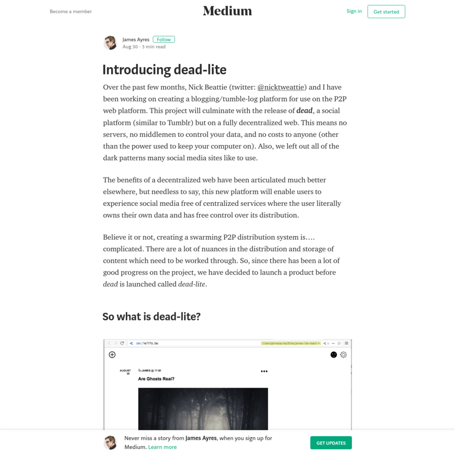 Over the past few months, Nick Beattie (twitter: @nicktweattie) and I have been working on creating a blogging/tumble-log platform for use on the P2P web platform. This project will culminate with...