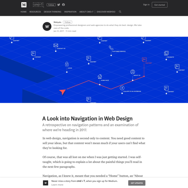 In web design, navigation is second only to content. You need good content to sell your ideas, but that content won't mean much if your users can't find what they're looking for. Of course, that was all lost on me when I was just getting started.