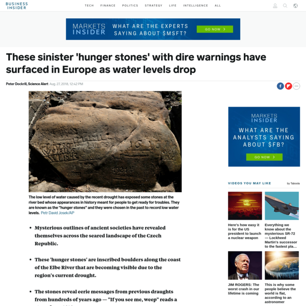 """'Hunger stones' are inscribed boulders along the coast of the Elbe River that are becoming visible because of the region's drought. The stones reveal eerie messages from draughts that took place hundreds of years ago. One stone from 1616 says, """"If you see me, weep."""""""