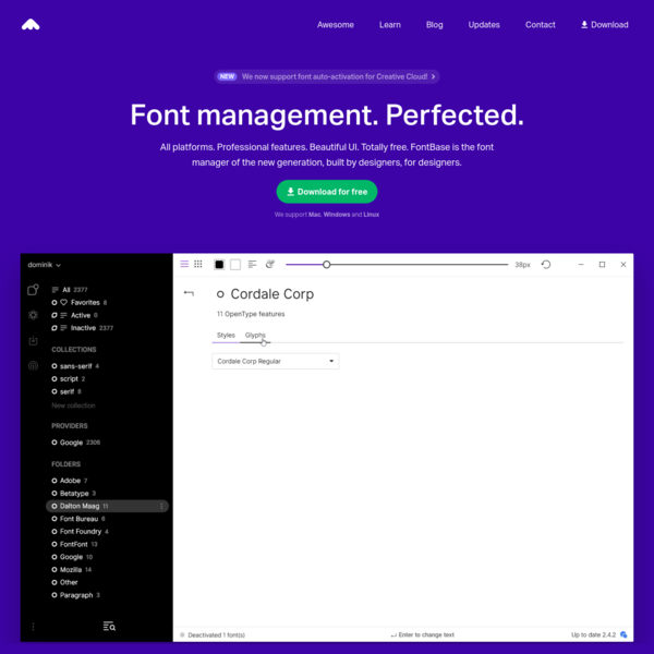 FontBase - a Free, Beautiful, and Fast Font Manager
