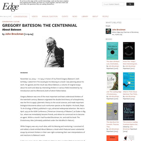 GREGORY BATESON: THE CENTENNIAL