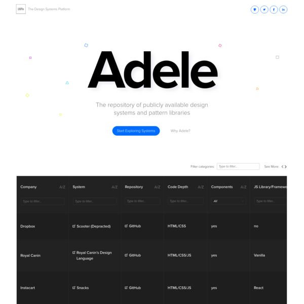 Adele - Design Systems and Pattern Libraries Repository