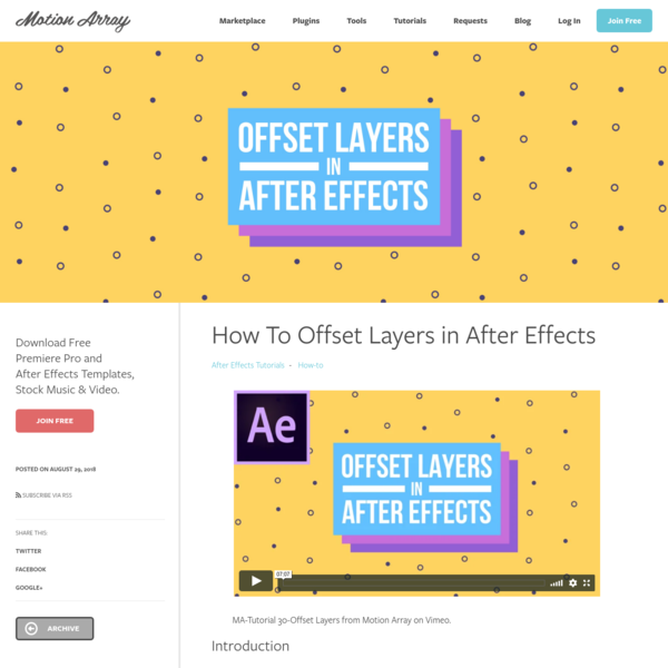 How To Offset Layers in After Effects | Motion Array