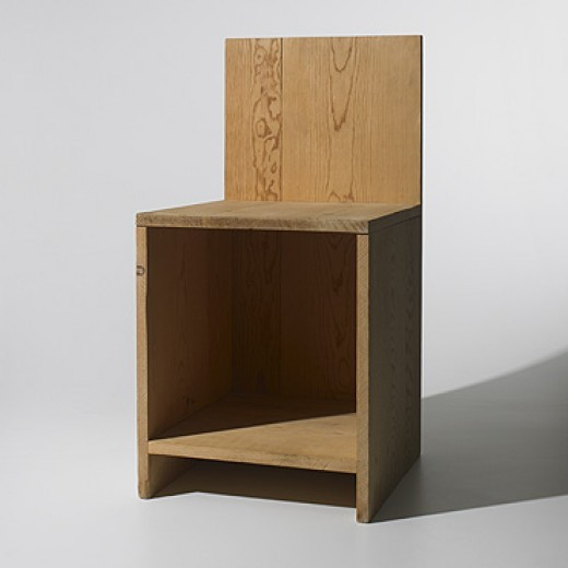 DONALD JUDD  chair  USA, 1979    pine    15 w x 16 d x 30 h inches    This example was one of Judd's earliest experiments in chair design and was never put into production. Built in his Marfa studio, the chair is hand-signed and dated in pencil to underside: [DJ 79 C].