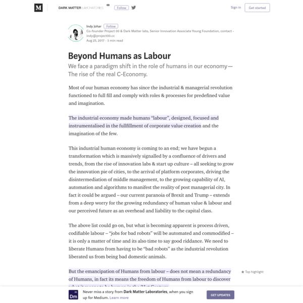 Beyond Humans as Labour - Dark Matter Laboratories