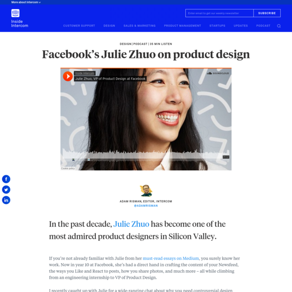In the past decade, Julie Zhuo has become one of the most admired product designers in Silicon Valley. If you're not already familiar with Julie from her must-read essays on Medium, you surely know her work.