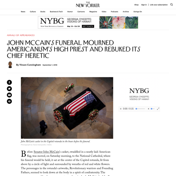 John McCain's Funeral Mourned Americanism's High Priest and Rebuked Its Chief Heretic