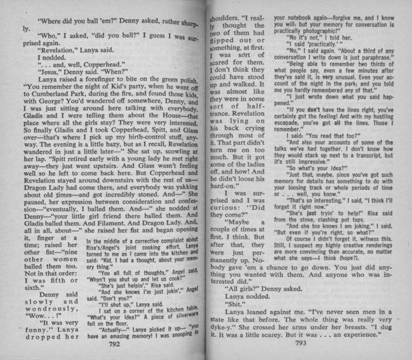 Delany, Samuel R., _Dhalgren_ (Des Plaines: Bantam Books, 1975), pp. 792–3.