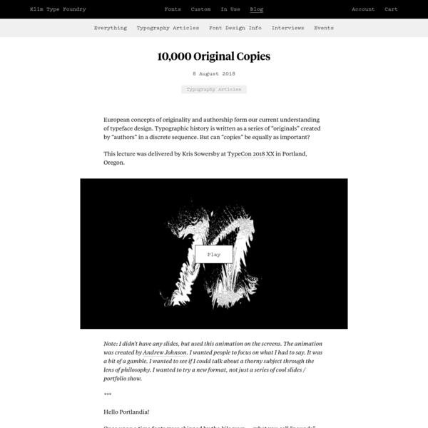 Klim Type Foundry · 10,000 Original Copies