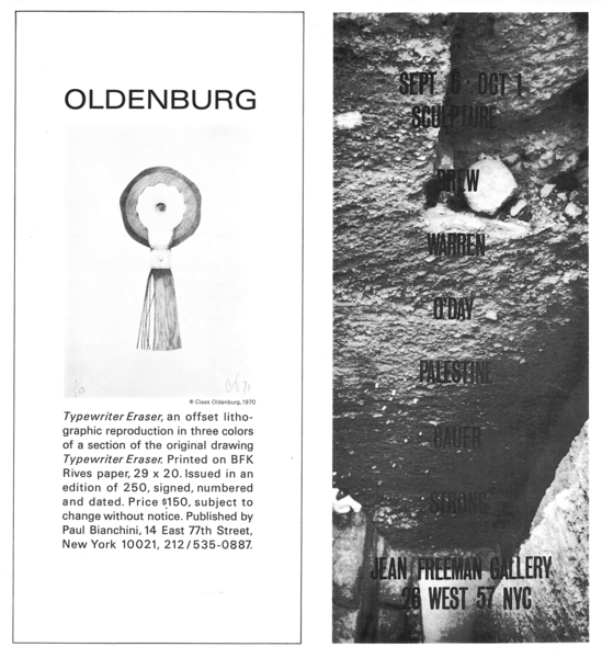 Advertisement for Sculpture, a group exhibition at Jean Freeman Gallery, September 6–October 1, 1970, in the September 1970 issue of Artforum.
