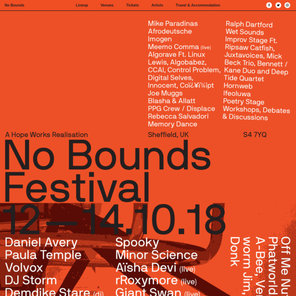 No Bounds Festival 2018 | Sheffield UK - 12th - 14th October 2018 | Tickets on Sale Now