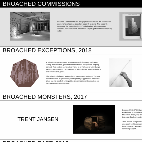 Broached Commissions is a design production house. We commission applied arts collections based on research projects.