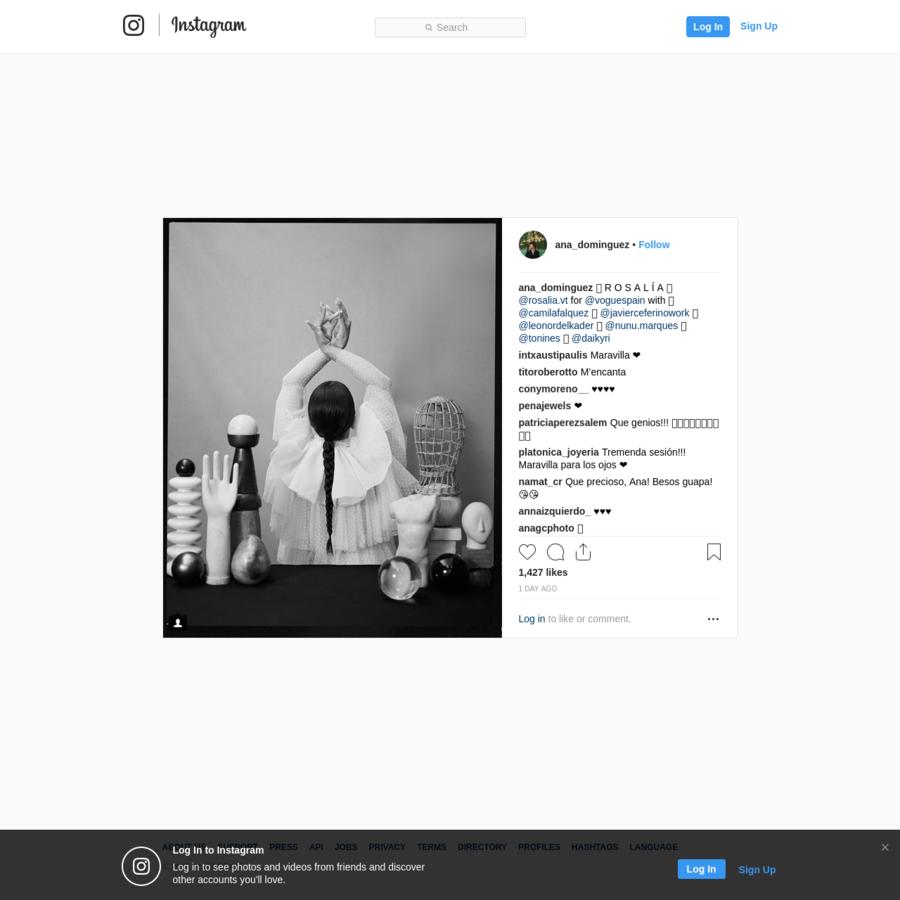 "1,427 Likes, 21 Comments - Ana Domínguez (@ana_dominguez) on Instagram: ""🥚 R O S A L Í A 🥚 @rosalia.vt for @voguespain with 📸 @camilafalquez 🥚 @javierceferinowork..."""