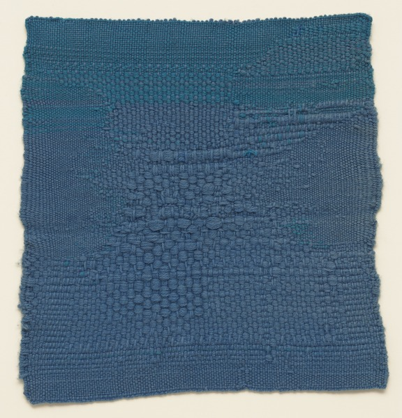 """Sheila Hicks Blue Letter 1959 Not on view Medium Hand-woven wool Dimensions 17 3/4 x 17"""" (45.1 x 43.2 cm)  MoMA: https://www.moma.org/collection/works/3330"""