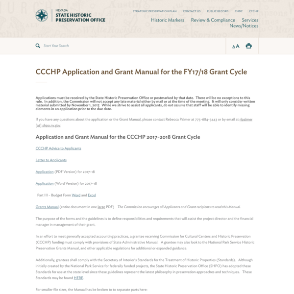 CCCHP Application and Grant Manual for the FY17/18 Grant Cycle | SHPO
