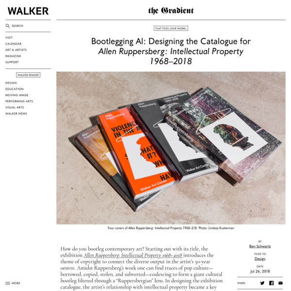 """How do you bootleg contemporary art? In designing the catalogue for Allen Ruppersberg: Intellectual Property 1968-2018, Ben Schwartz started with the exhibition's title, which nods to the theme of copyright that spans the artist's 50-year oeuvre. Referencing pop cultural traces in the work-borrowed, copied, stolen, and subverted-he set out to create """"a giant cultural bootleg filtered through a Ruppersbergian lens."""""""