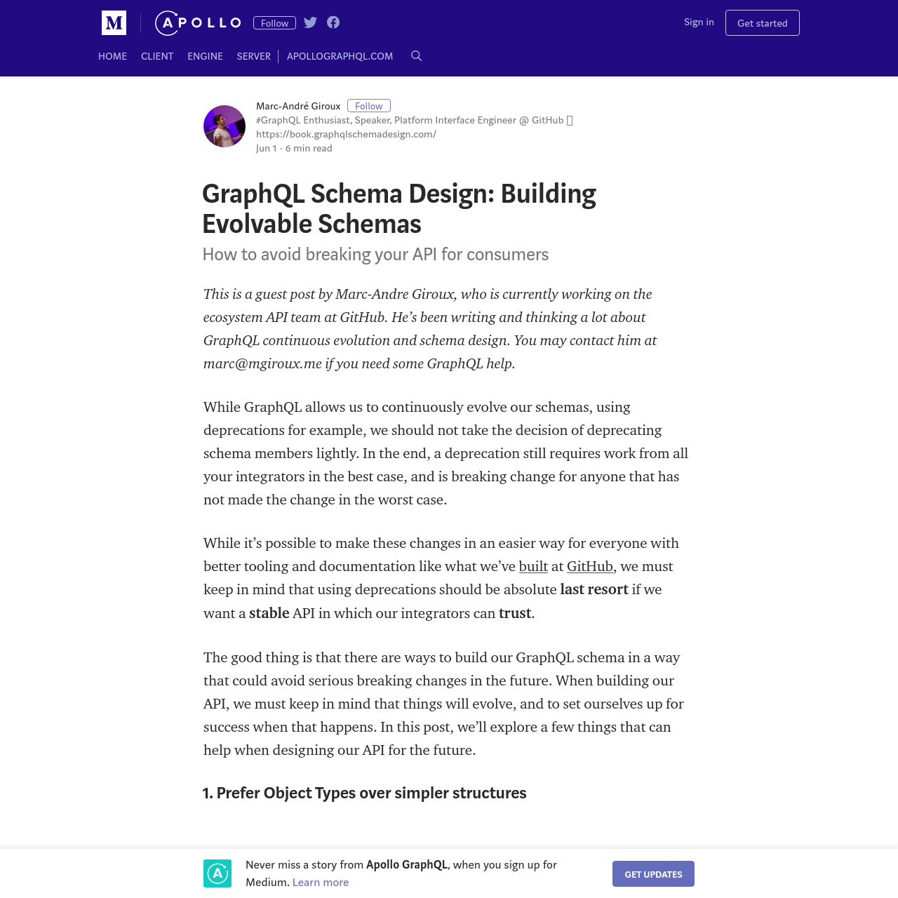 Are na / GraphQL Schema Design: Building Evolvable Schemas