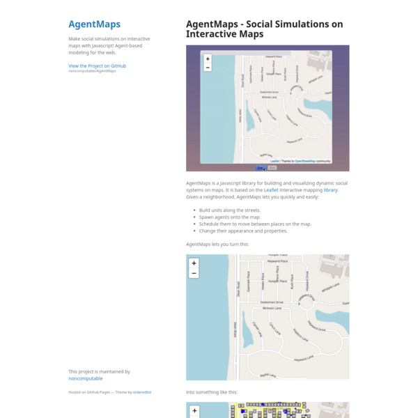 Make social simulations on interactive maps with Javascript! Agent-based modeling for the web.