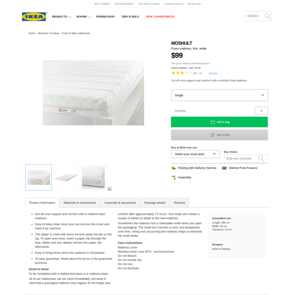 MOSHULT Foam mattress - Single - IKEA