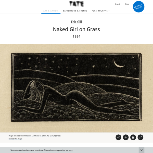 Artwork page for 'Naked Girl on Grass', Eric Gill, 1924