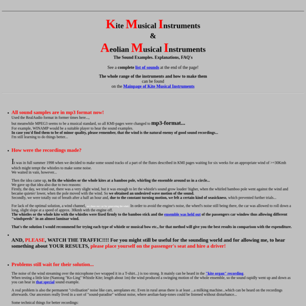 Kite Musical Instruments/ Aeolian Instruments; Sound Examples, FAQ's.
