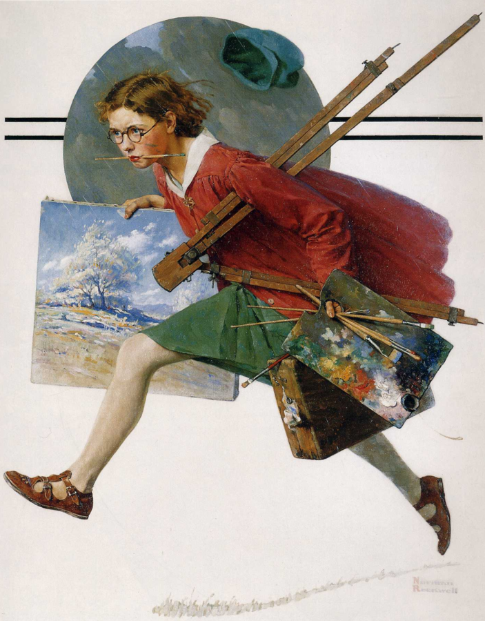 Girl Running with Wet Canvas, by Norman Rockwell