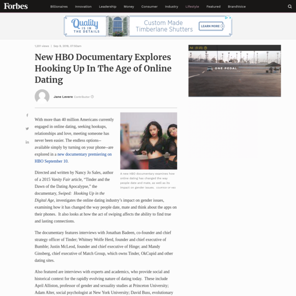 With more than 40 million Americans currently engaged in online dating, seeking hookups, relationships and love, meeting someone has never been easier. The endless options--available simply by turning on your phone--are explored in a new documentary premiering on HBO Monday night.