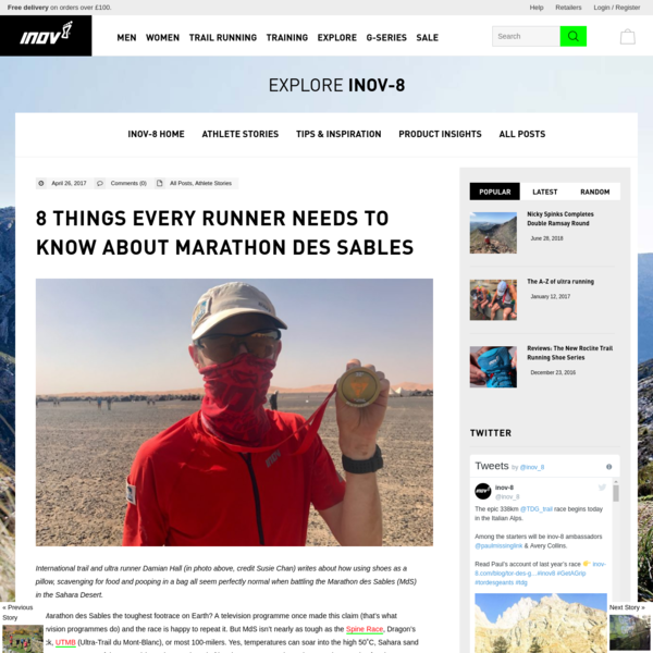 International trail and ultra runner Damian Hall (in photo above, credit Susie Chan) writes about how using shoes as a pillow, scavenging for food and pooping in a bag all seem perfectly normal when battling the Marathon des Sables (MdS) in the Sahara Desert. Is Marathon des Sables the toughest footrace on Earth?