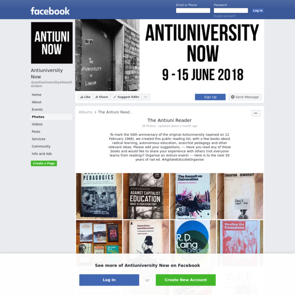 Antiuniversity Now. 4,142 likes · 7 talking about this. A collaborative autonomous education experiment. Teaching and learning as direct action. An ongoing programme of radical education & an annual...