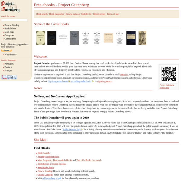 Project Gutenberg offers free ebooks to download.