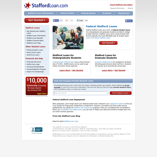 Federal Stafford Loans are a form of Federal Financial Aid to help an undergraduate or graduate student pay for their education. Research and apply for a stafford loan, and other forms of financial aid at StaffordLoan.com and Student Loan Network.