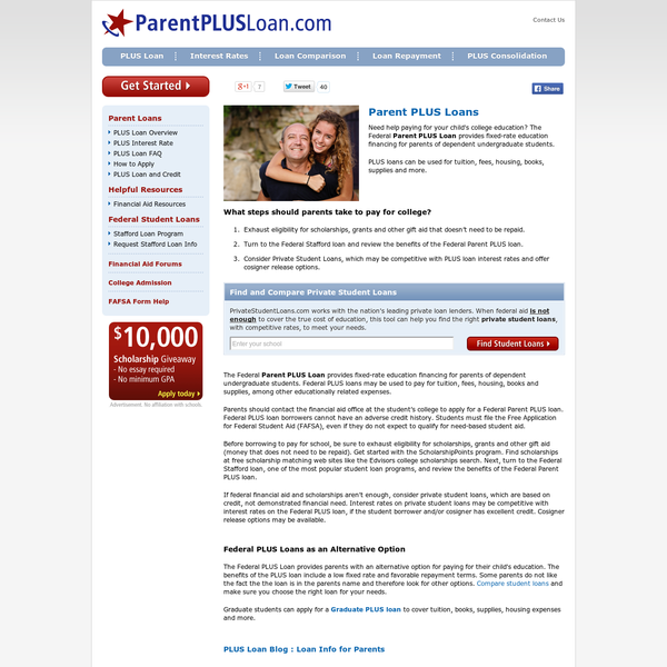 Show this to your parents! Need help paying for your child's college education? The Federal Parent PLUS Loan provides fixed-rate education financing for parents of dependent undergraduate students. PLUS loans can be used for tuition, fees, housing, books, supplies and more. What steps should parents take to pay for college?