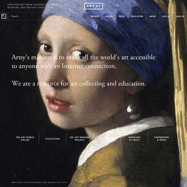 Artsy's mission is to make all of the world's art accessible to anyone with an Internet connection.