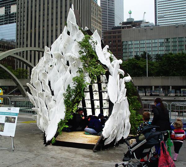 Biodegradable Corn-based foam // Sukkah City Toronto