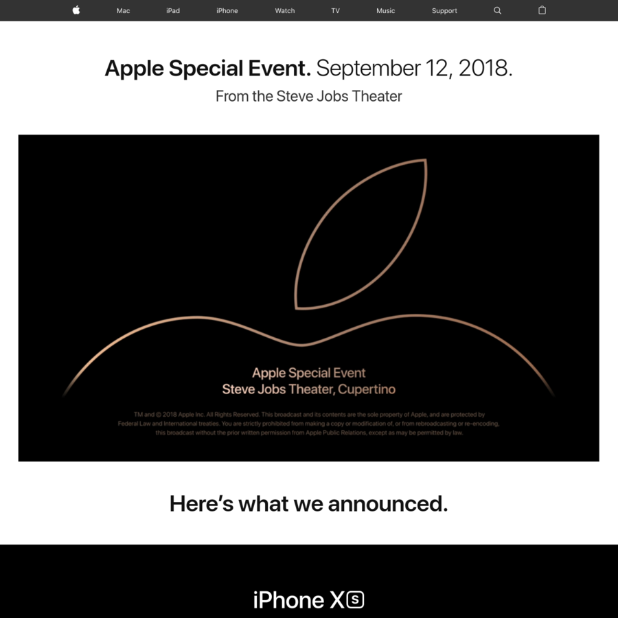Join us here September 12, 2018 at 10 a.m. PDT to watch the Apple Special Event, live from the Steve Jobs Theater.