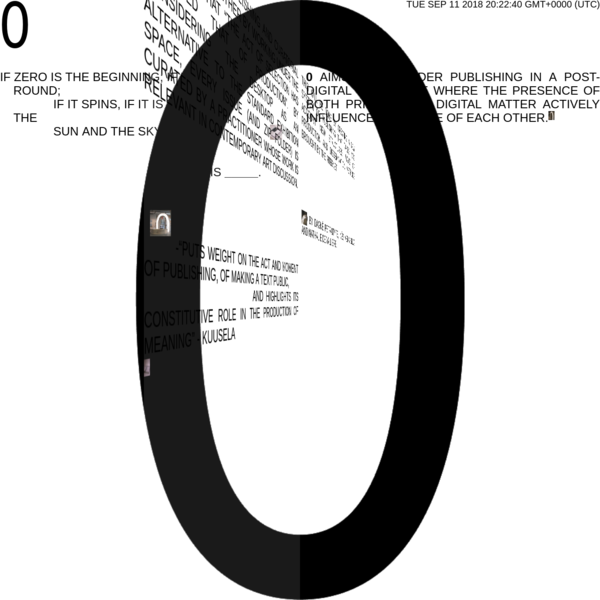 """0 brings publishing and curatorial practices together by working under the paradigm that """"the act of selection has replaced that of production"""". By considering the desktop as an alternative to the standard exhibition space, every issue (and ZIP folder) is curated by a practitioner whose work is relevant in contemporary art discussion."""