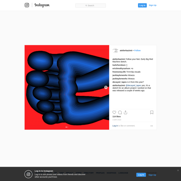 "114 Likes, 8 Comments - Azar Kazimir (@atelierkazimir) on Instagram: ""Follow your feet. Early Big Red Machine sketch."""