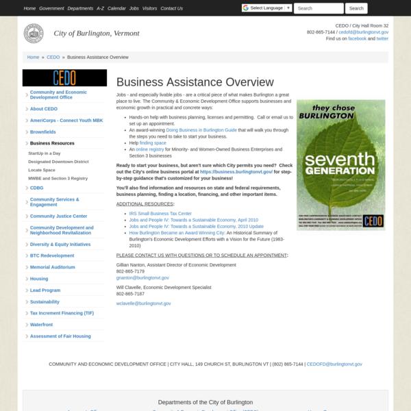 Business Assistance Overview   City of Burlington, Vermont