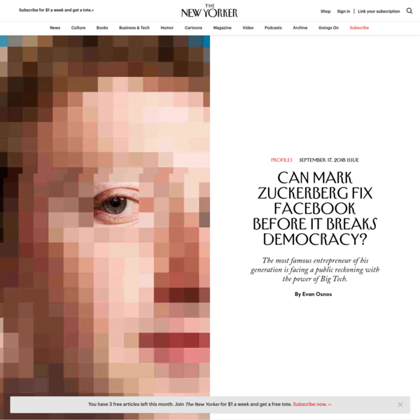At ten o'clock on a weekday morning in August, Mark Zuckerberg, the chairman and C.E.O. of Facebook, opened the front door of his house in Palo Alto, California, wearing the tight smile of obligation. He does not enjoy interviews, especially after two years of ceaseless controversy.