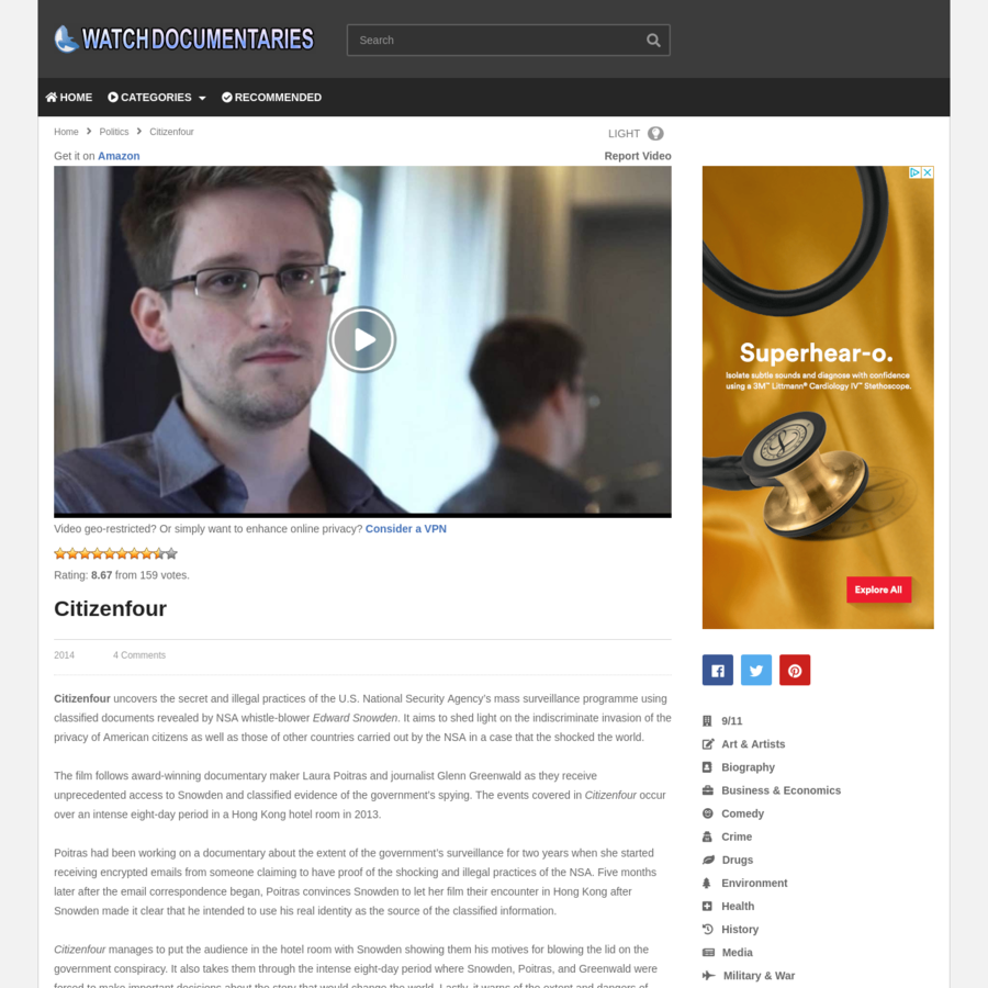 Citizenfour uncovers the secret and illegal practices of the U.S. National Security Agency's mass surveillance programme using classified documents revealed by NSA whistle-blower Edward Snowden. It aims to shed light on the indiscriminate invasion of the privacy of American citizens as well as those of other countries carried out by the NSA in a case that the shocked the world.