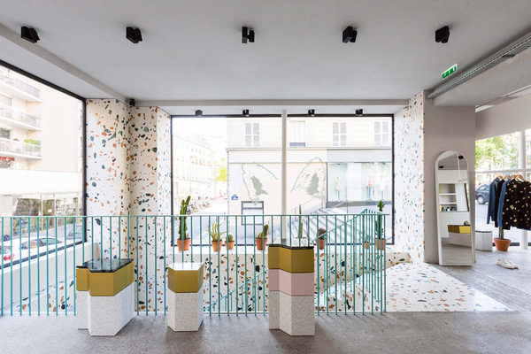 Maison Kitsuné, Filles Du Calvaire, Paris, 2015  Commercial, Paris Charles-Edmond Henry and Nicolas Dorval-Bory Architectes Custom Marmoreal White slab, 2 cm thickness, honed finish Photo, Nicolas Dorval-Bory