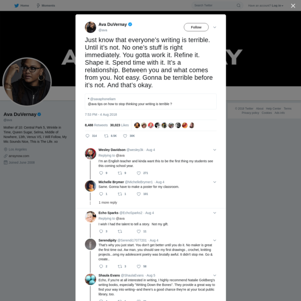Ava DuVernay on Twitter