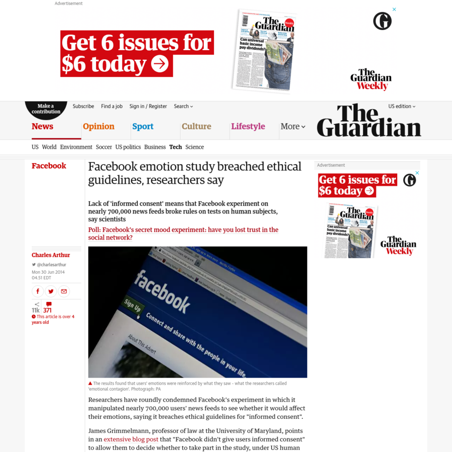 Lack of 'informed consent' means that Facebook experiment on nearly 700,000 news feeds broke rules on tests on human subjects, say scientists. By Charles Arthur